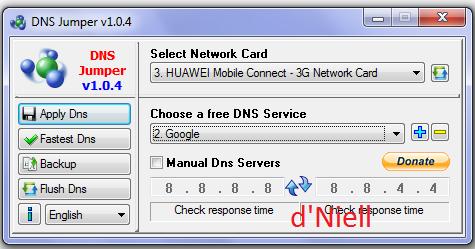Pada opsi Select Network Card, pilih peralatan card atau modem anda ...