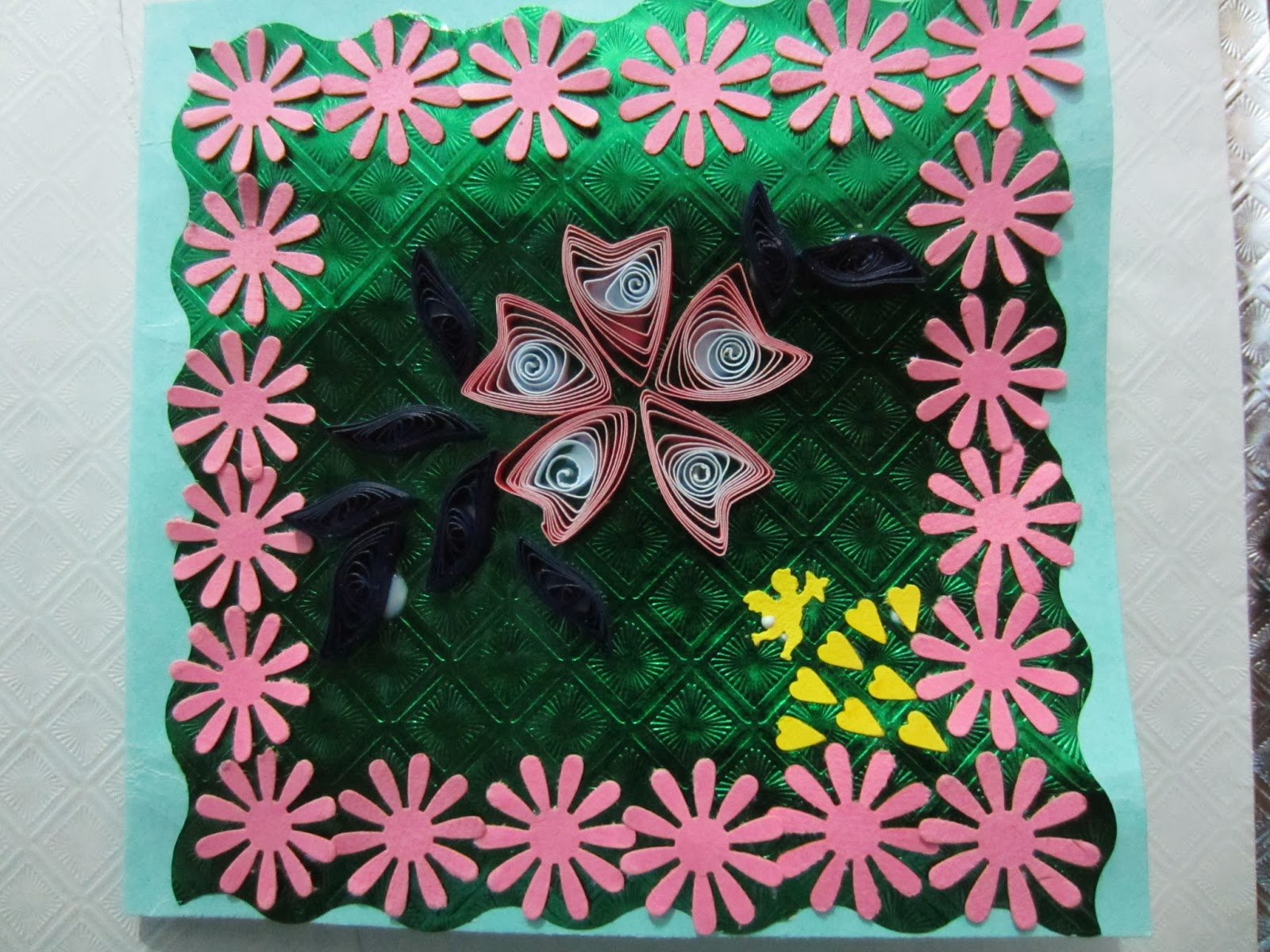 Pinkys crafts and paintings hand made cards hand made greeting cards made of chart paper and decorated with quilling work and punched flowers and cupids mightylinksfo