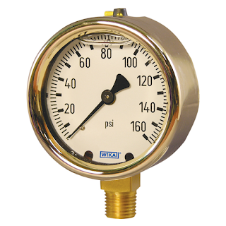 liquid filled industrial process control pressure gauge