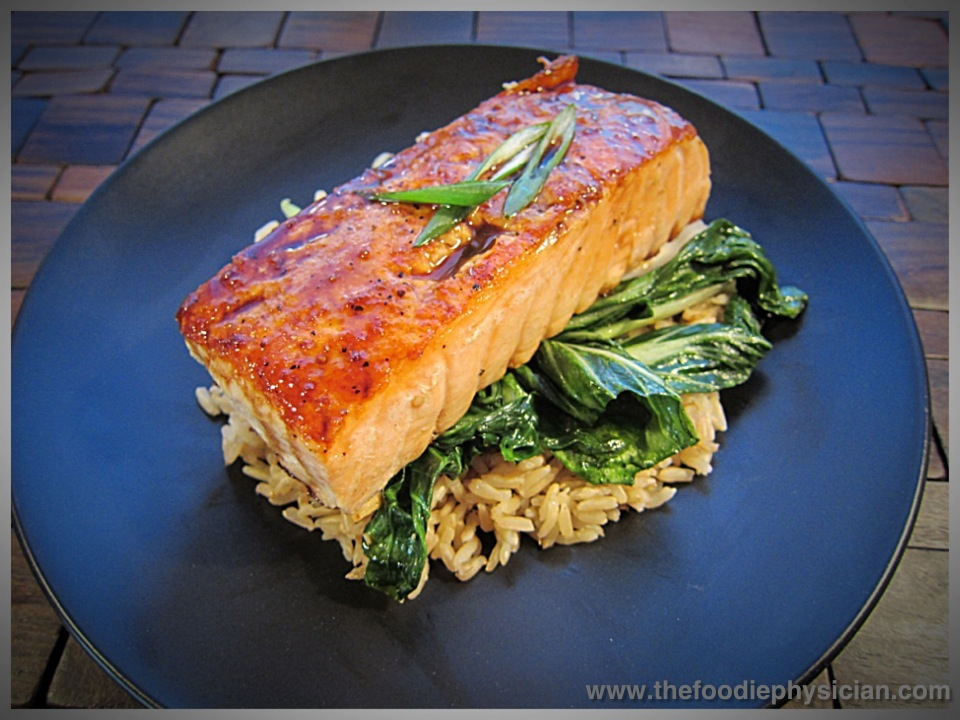 Ginger Soy Glazed Salmon with Baby Bok Choy and Brown Rice