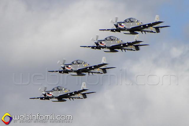 Cuatro Super Tucanos de la Fuerza Aérea Colombiana deleitarán a los asistenes a la Feria Internacional Aeronáutica F-AIR COLOMBIA 2015.