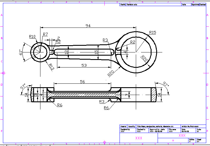 techdrawing: DRAWING CONNECTING ROD