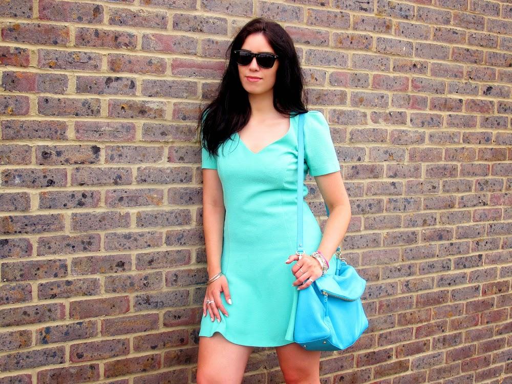 London fashion blogger Emma Louise Layla in mint green Miss Selfridge dress