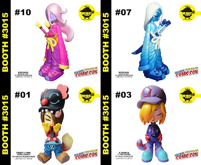 ESC Toy New York Comic-Con 2012 Exclusives by Erick Scarecrow - Purple Lust Kissaki, Cold as Ice Kissaki, Chap-Lynn Ring Leader &amp; 3 Years Later S. Maria