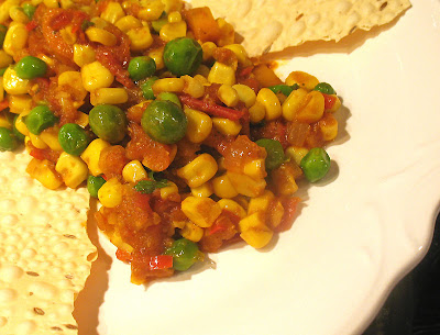 Corn and Green Pea Tomato Curry