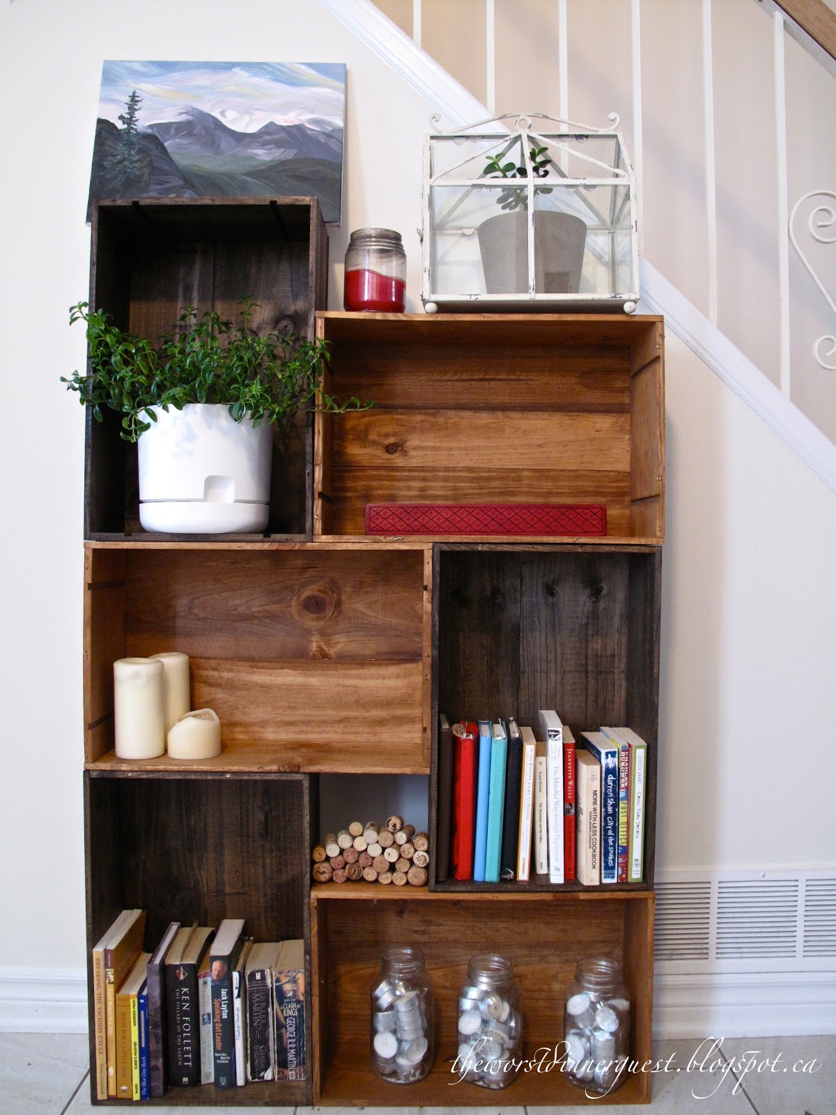 DIY Vintage Wine Crate Bookshelf