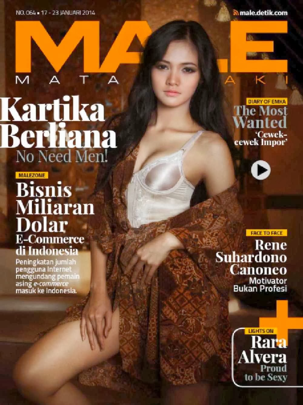 Magazine Cover : Kartika Berliana Magazine Photoshoot Pics on Male Magazine January 2014 Issue