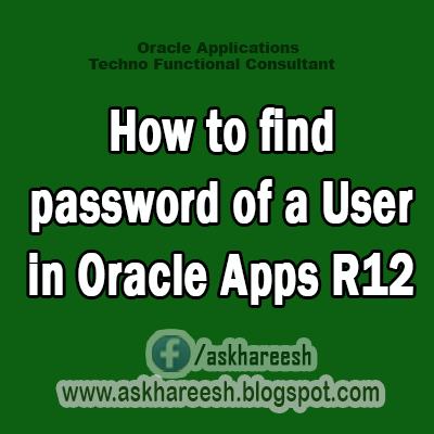 How to find password of a User in Oracle Apps R12,AskHareesh Blog for OracleApps