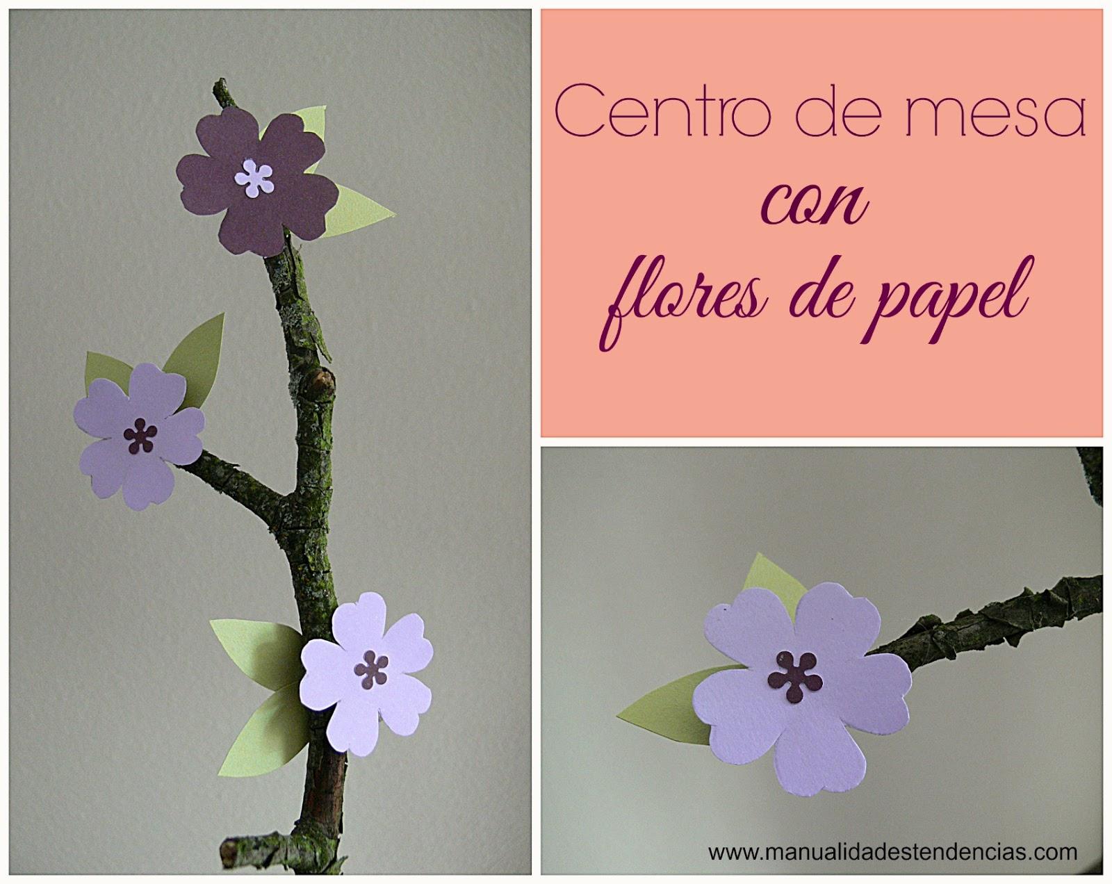 Centro de mesa con flores de papel