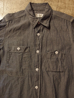 fwk by engineered garments work shirt in blue chambray