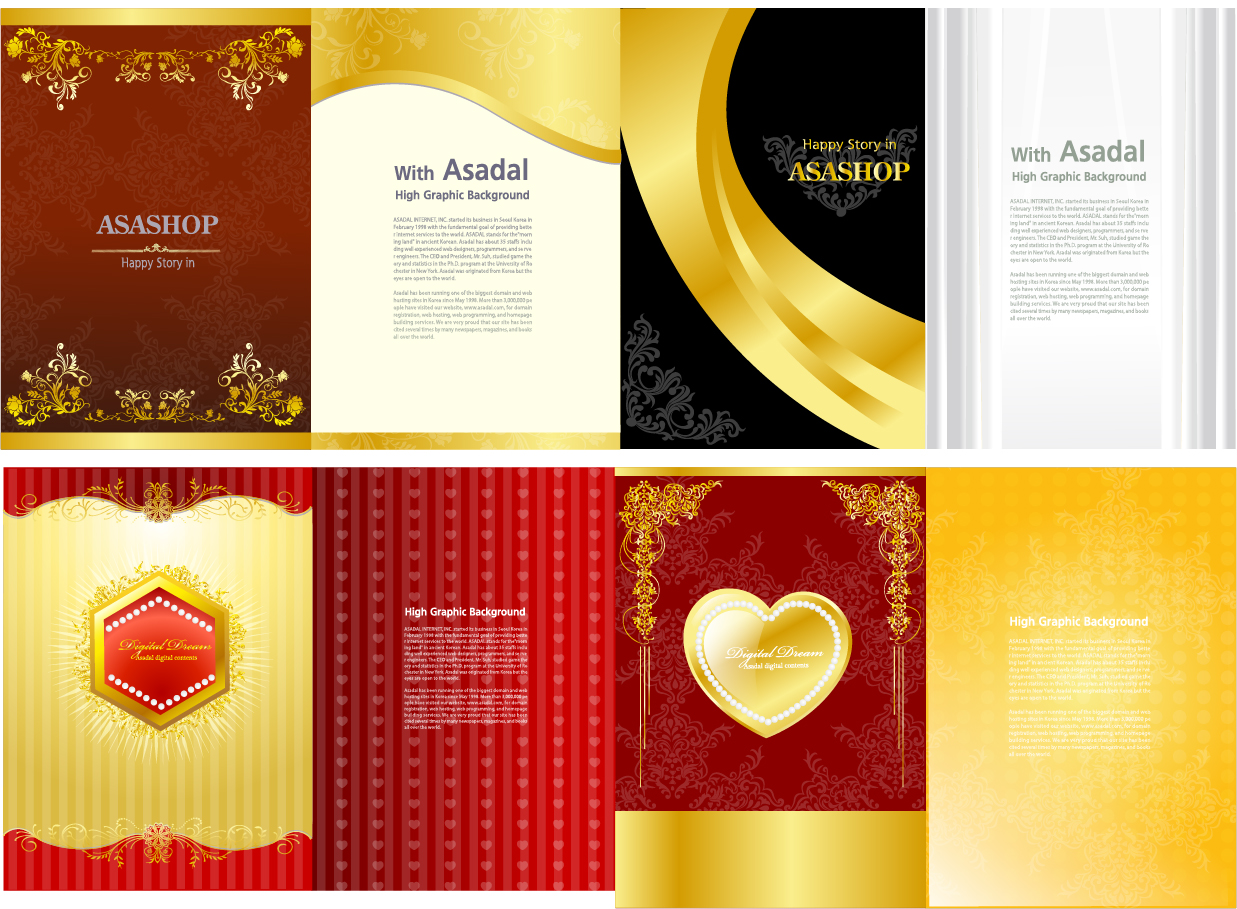 金色を基調としたバレンタインデーカード テンプレート Heart gold valentine day greeting card template イラスト素材