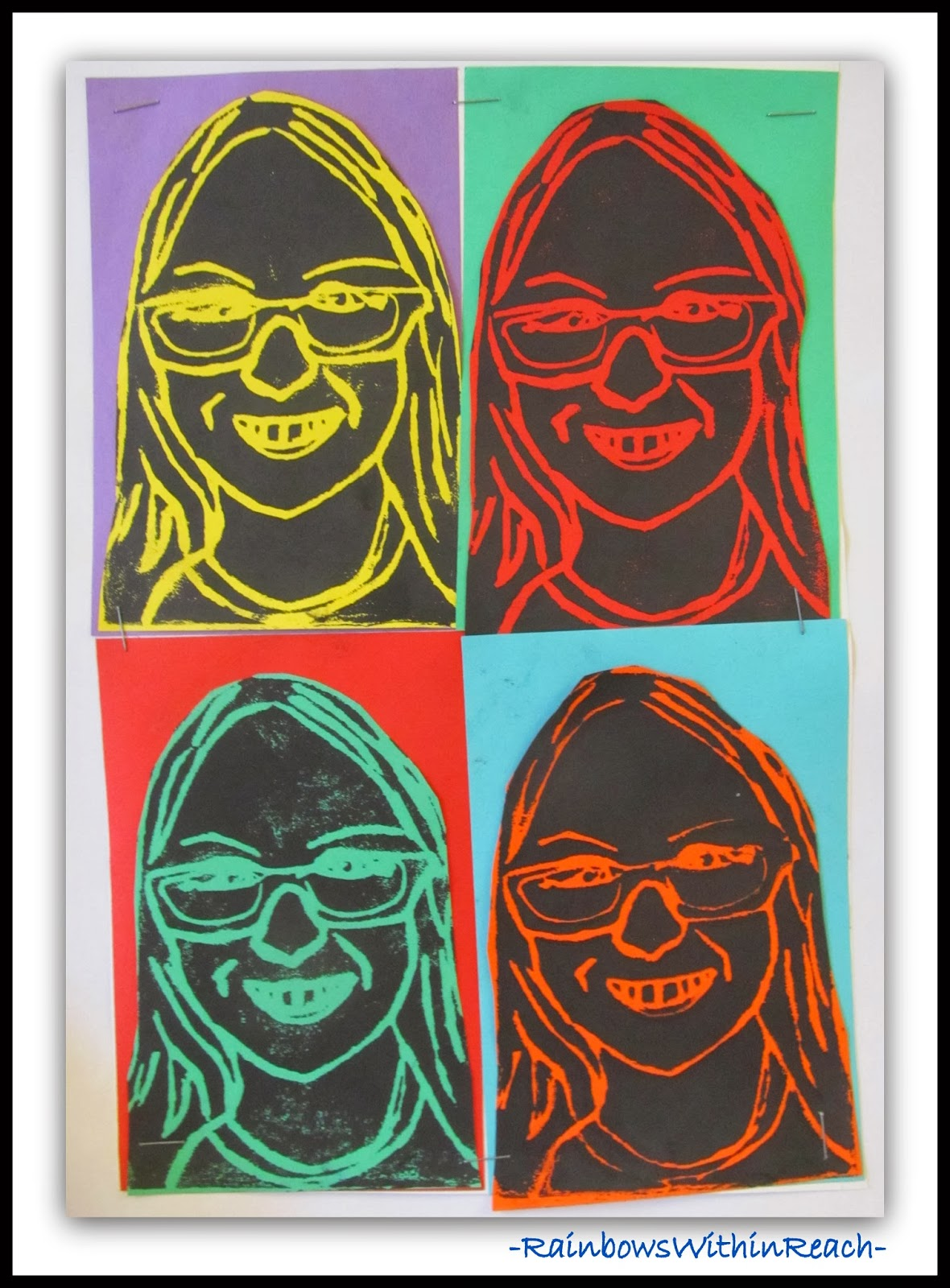 Andy Warhol Inspired Self Portrait Printmaking at RainbowsWithinReach