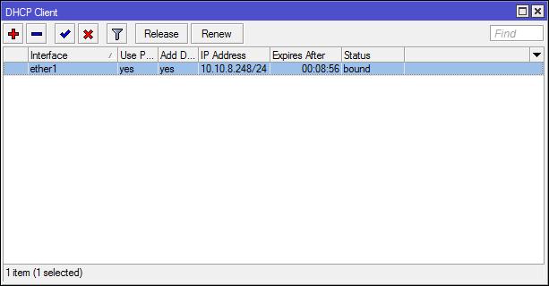 mikrotik dhcp client
