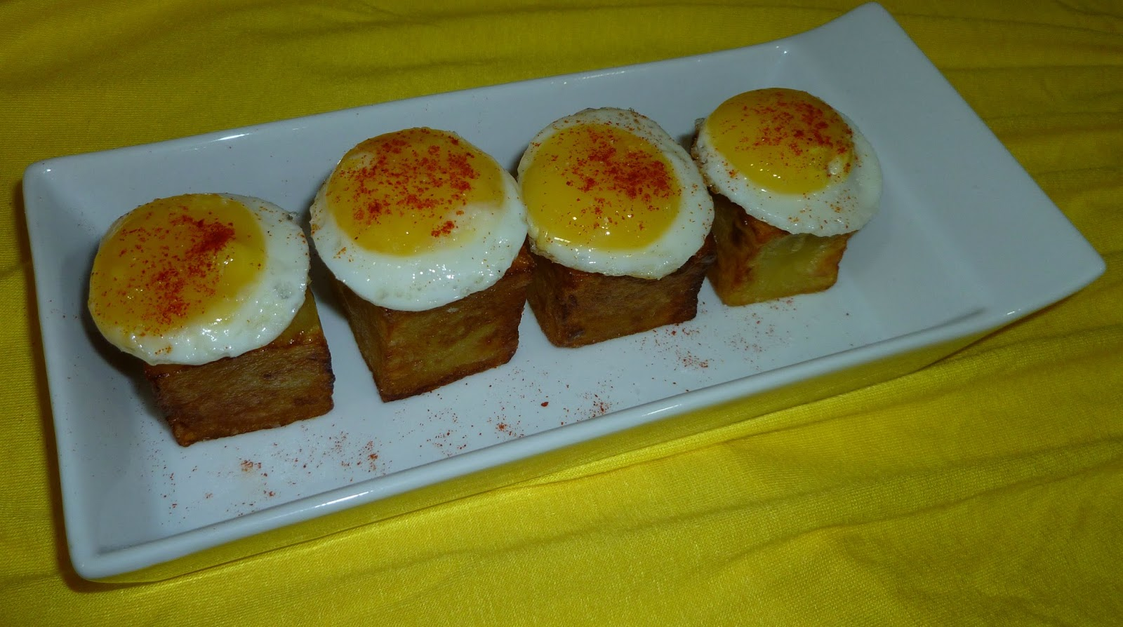 Tesoros de patata con huevos de codorniz