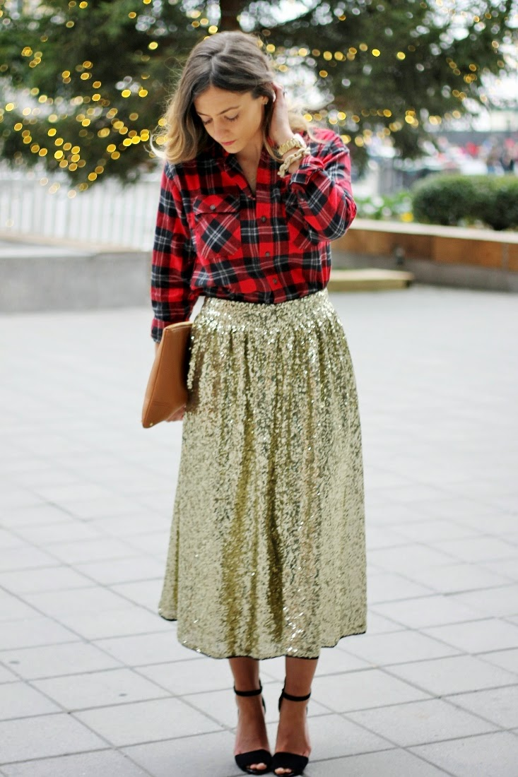Sequin Swing Skirt - Tartan Plaid Button Up Top