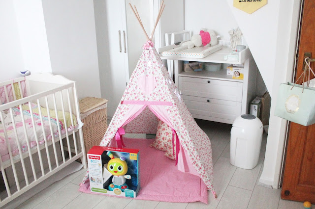 baby's first christmas gifts pink shabby chic floral tepee and fisher price beat bo