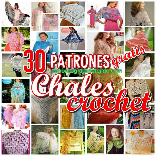 30 patrones y tutoriales de chales tejidos con crochet y dos agujas
