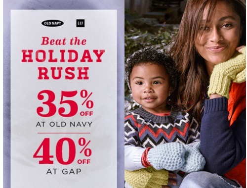 Old Navy & Gap Beat the Holiday Rush & Save Up To 40% Off Promo Code