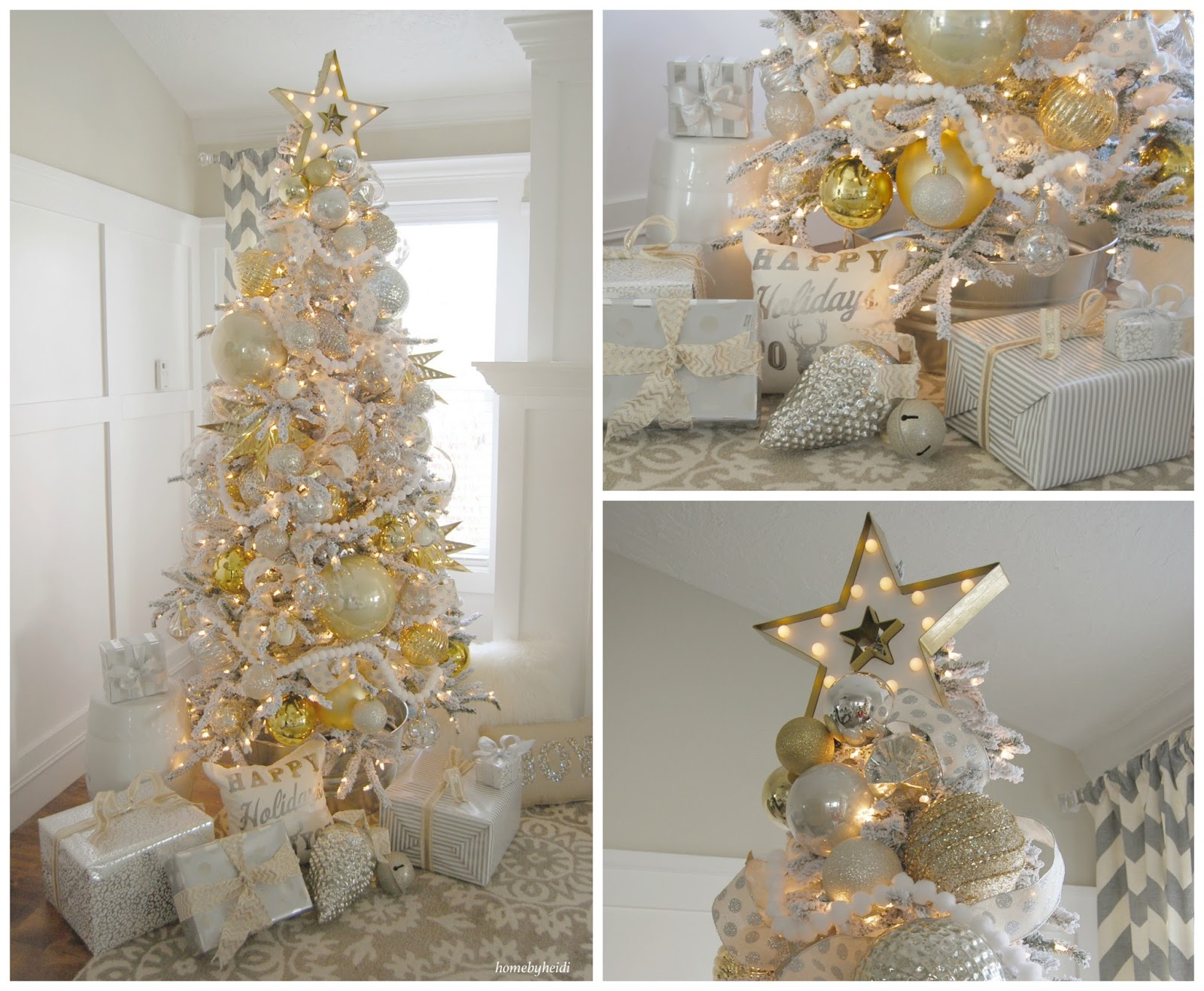 home by heidi silver and gold christmas tree. Black Bedroom Furniture Sets. Home Design Ideas