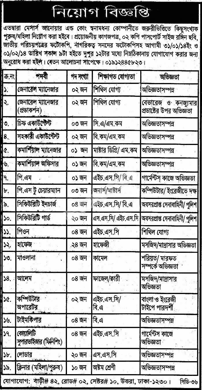 Job (Computer Operator,Commercial Manager, Assistant Accountant, Chief Accountant, General Manager -Production)of M/s Anowar And Co