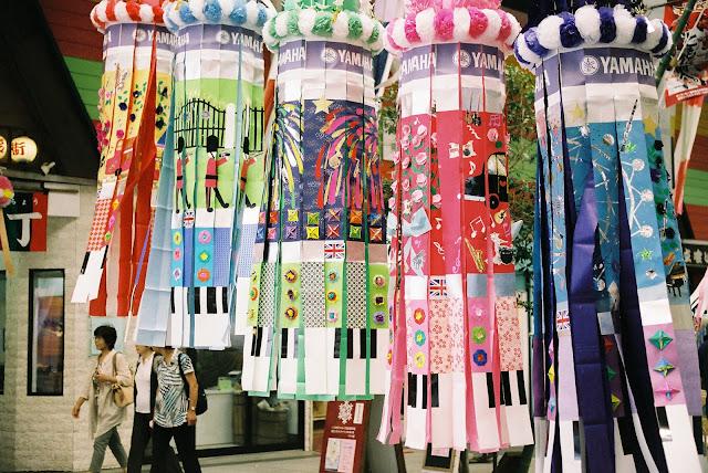 yamaha's piano designed tanabata decorations