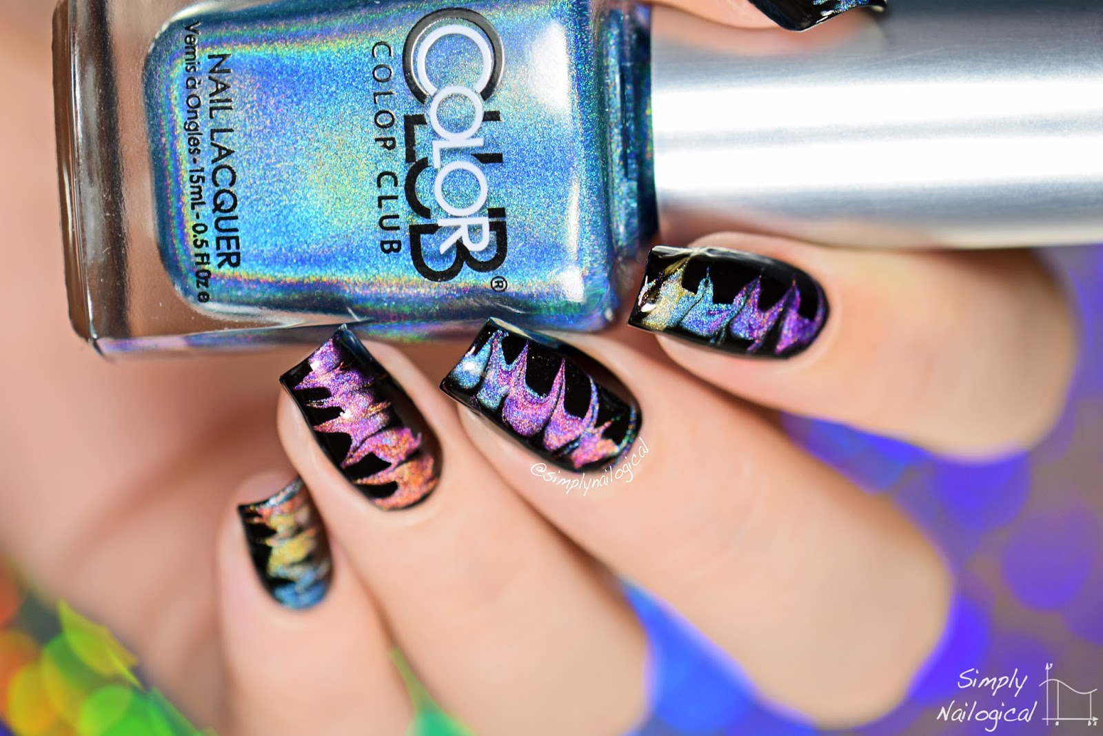 Simply Nailogical: No-water holographic (drag) watermarble!