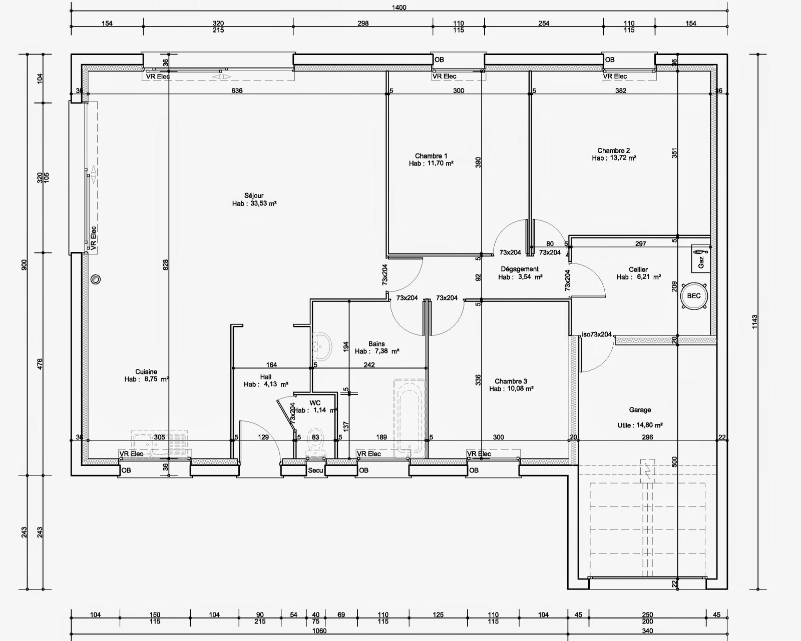 Maison familiale lille carnin plain pied 100 m for Plan maison familiale