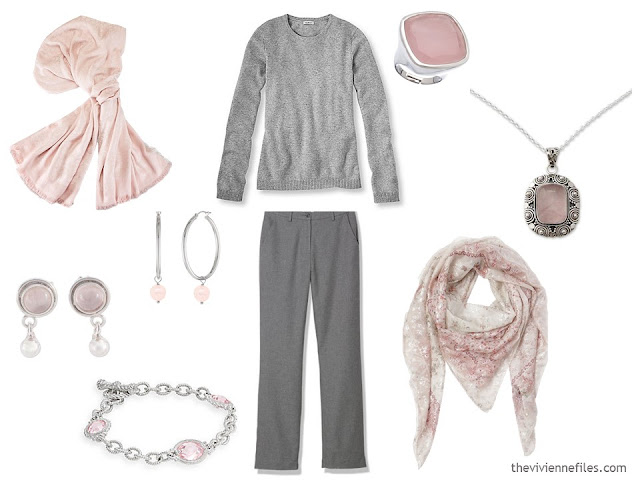 How to wear Pantone Color of the year 2016 Rose Quartz with gray clothes.