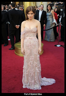 Oscars 2012 Kate Mara in Pink Beaded Gown