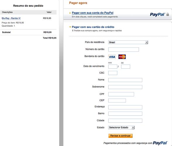 vender pelo paypal página de pagamentos