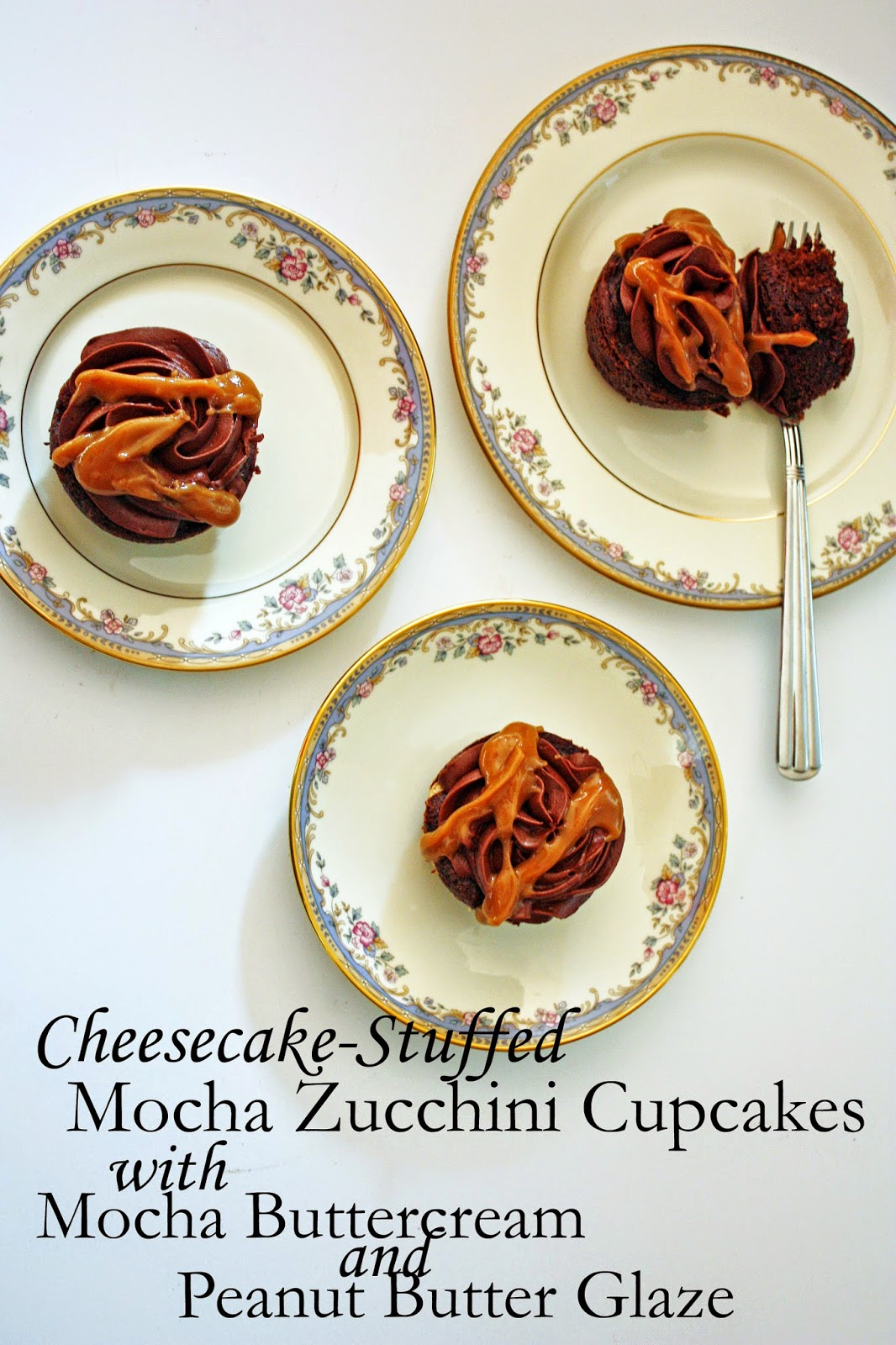 cheesecake-stuffed mocha zucchini cupcakes with mocha frosting and peanut butter glaze