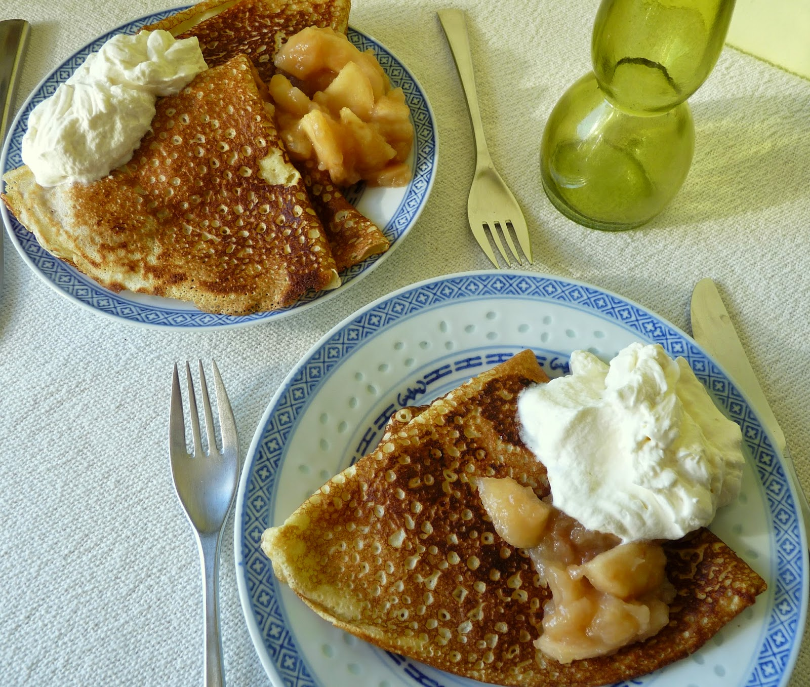Crepes with Apple Sauce and Whipped Cream