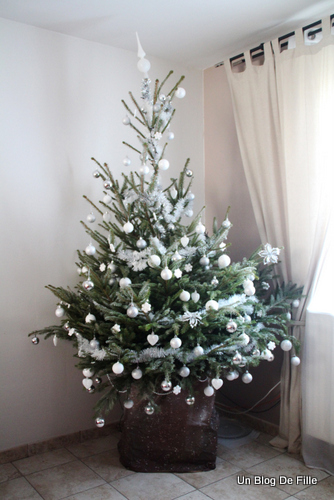 Un blog de fille d coration sapin de no l givr blanc et argent - Decoration de noel sapin ...