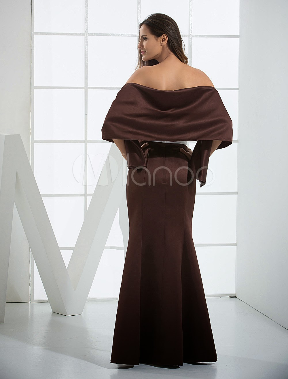 Black Mermaid Trumpet Wrap Sash Satin Bridesmaid Dress