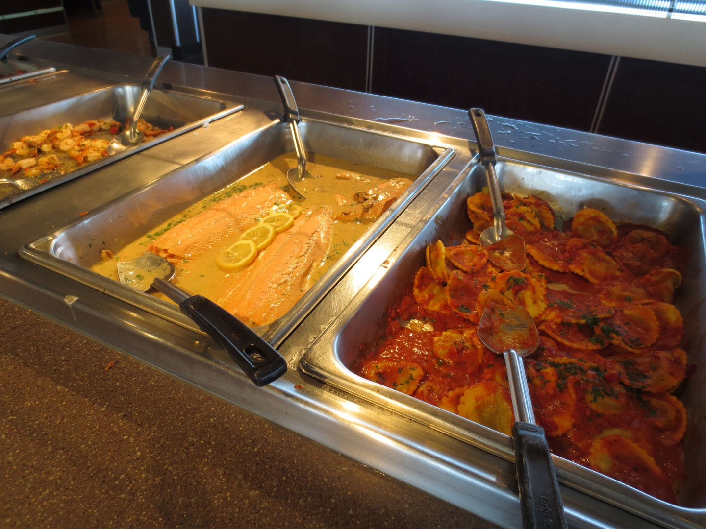 Seafood and pasta is served in the Pacific Buffet, BC Ferries