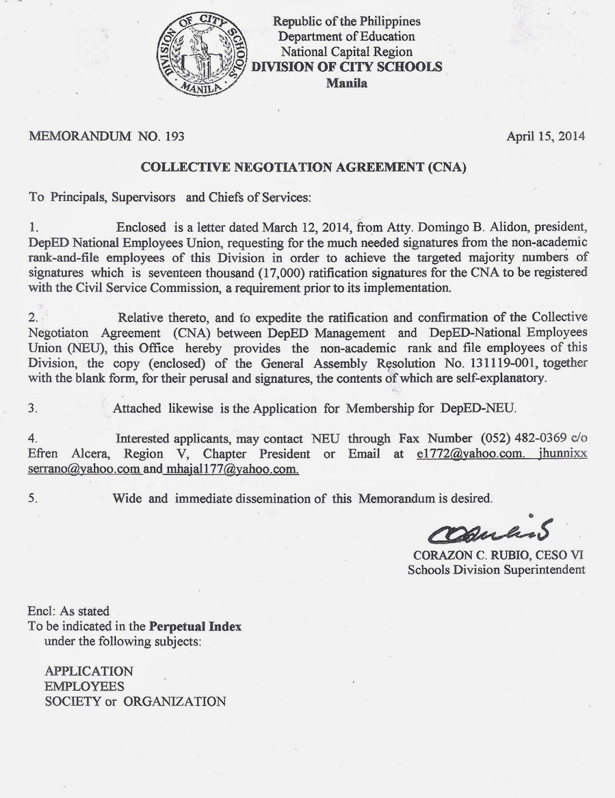 Department Of Education Manila Division Memorandum No 193