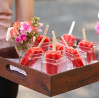 Cocktail popsicles on a serving tray