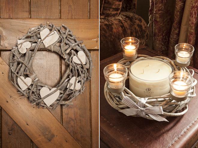 Navidad rustica con madera y raíces - corona ramas- twig wreath -candle