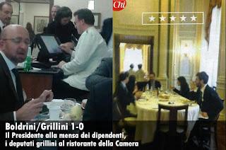 [foto] Boldrini alla mensa, i grillini alla buvette? Non me ne frega niente!