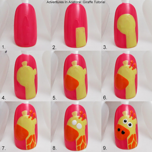 http://www.adventuresinacetone.com/2013/06/tutorial-tuesday-giraffe-nail-art.html