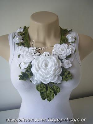 branco, verde, colar de flor, colar de flores, moda feminina, croche, maxi colar, colar de croche