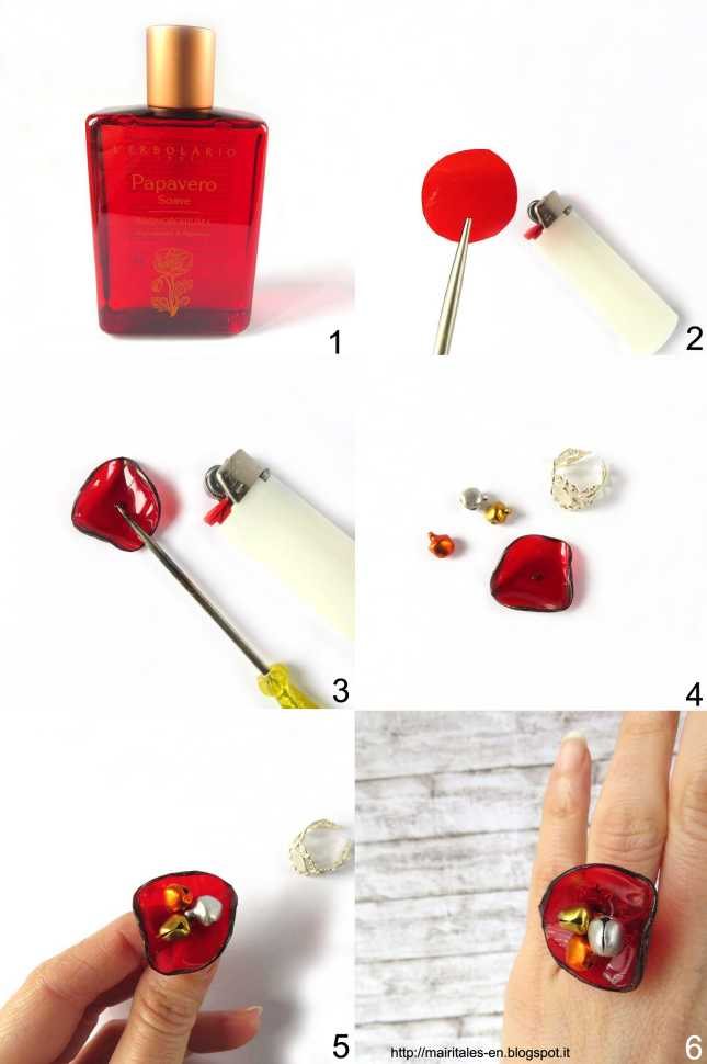 Tutorial for a ring with a recycled plastic poppy