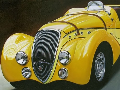 10-Gatsby-Cheryl-Kelley-Chrome-Muscle-Cars-Hyper-realistic-Paintings-www-designstack-co