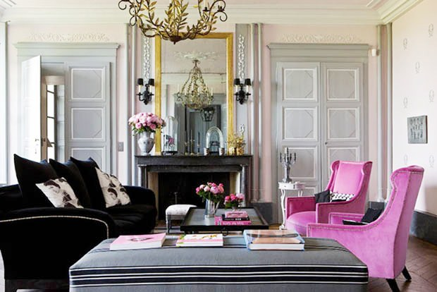 modern twist with the grey black and pink color palette above