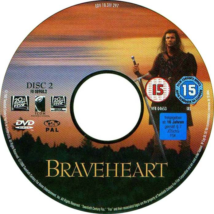 Braveheart Dvd Movie Label Art