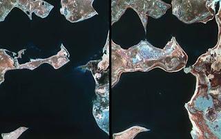Imágenes de satélite del mar de Aral