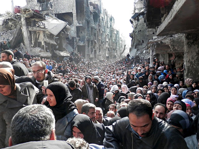 ruinas y población en Siria