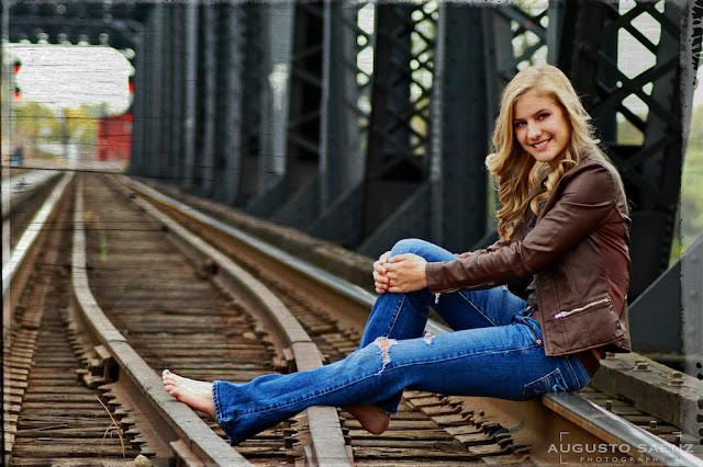 Senior Picture of barefoot Girl On Rail Tracks Columbus, OH