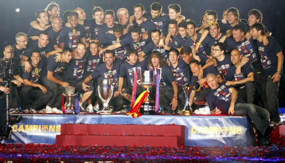 FC Barcelona celebración títulos Camp Nou jugadores Copa Rey 2012