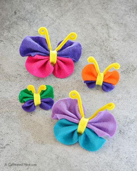 Decoração fácil com borboletas de feltro